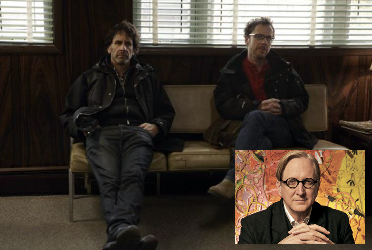 Joel and Ethan Coen on the set of 'Inside Llewyn Davis' (inset T Bone Burnett)