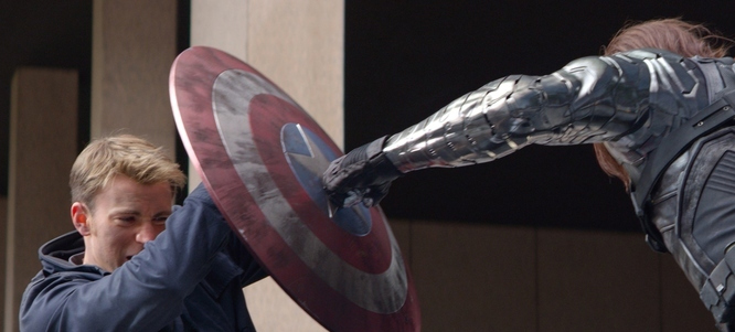 Chris Evans Sebastian Stan in 'Captain America The Winter Soldier'