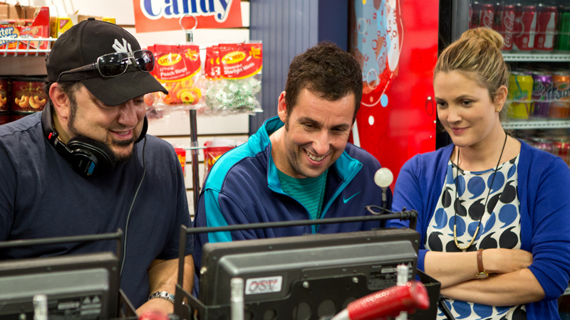Frank Coraci, Adam Sandler and Drew Barrymore on the set of 'Blended'