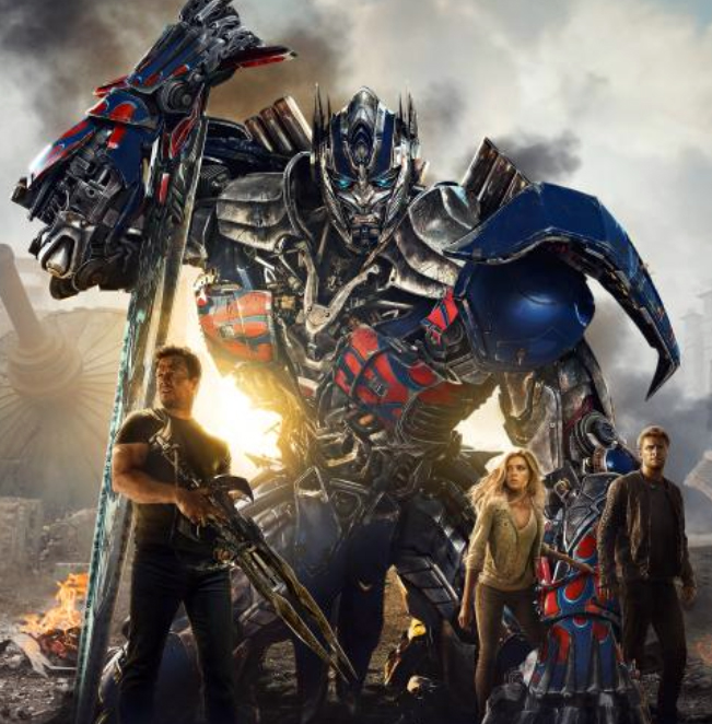 Transformer Age of Extinction poster Wahlberg, Peltz, Reynor (photo -- Paramount Pictures)