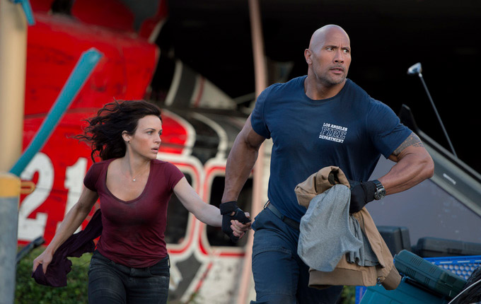 Carla Gugino and Dwayne Johnson in 'San Andreas' (photo -- Warner Bros)