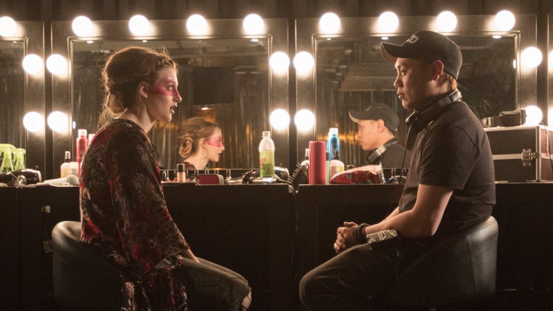 Aubrey Peeples and Jon M Chu on the set of 'Jem and the Holograms' (photo -- Universal Pictures)