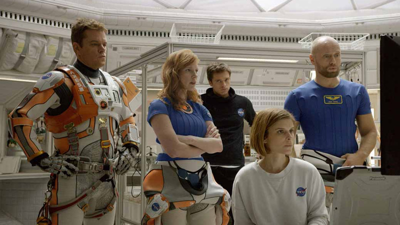 Matt Damon, Jessica Chastain, Sebastian Stan, Kate Mara and Aksel Hennie in 'The Martian'