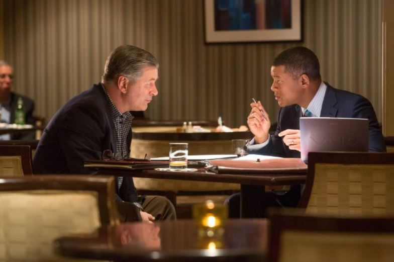 Alec Baldwin and Will Smith in 'Concussion' (photo - Sony Pictures)