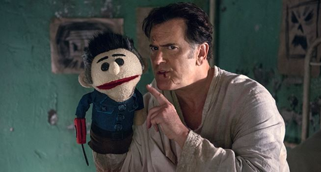 Bruce Campbell and his Ashy Slashy Puppet in Ash vs Evil Dead Season 2