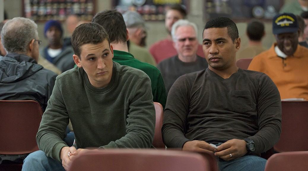 Miles Teller and Beulah Koale in a scene from Thank You for Your Service (photo - Universal Pictures)