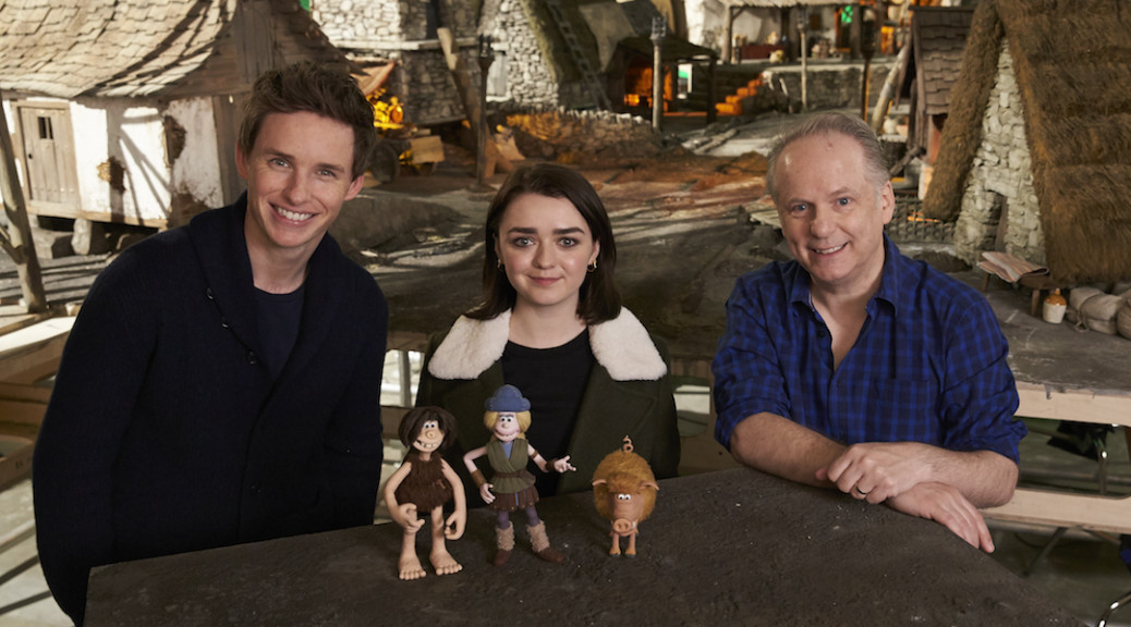 "Eddie Redmayne, Maisie Williams and Nick Park on the set of ""Early Man"" (photo - Lionsgate)"